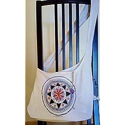 Bolso de algodón con mandala pintado a mano