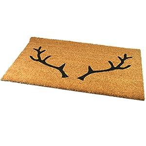 Black Ginger, Türmatten, aus Kokosfaser, stark und dekorativ, gemustert mit Natur-Design Hirsch