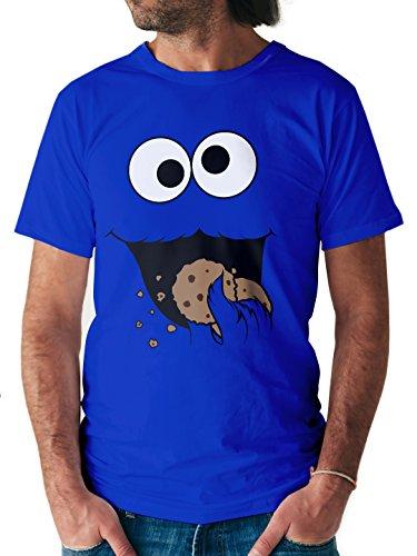 erren T-Shirt Keks-Monster (M, Royalblau) (Bert Sesamstraße Kostüm)