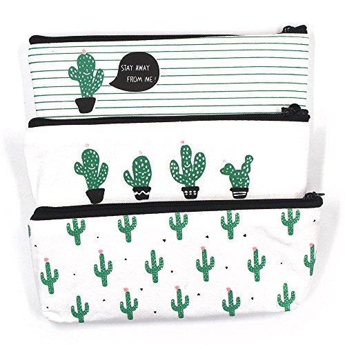 Lenhart Leinwand Kaktus Bleistift Fall, 3Stück Stifthalter Schreibwaren Bleistift Tasche Kosmetiktaschen (Mädchen 3 Stück Fallen)