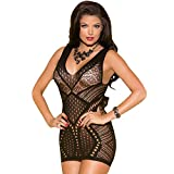 MEINICE Black Seamless Hollow-out Deep Plunge Chemise One Size