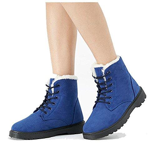 Scarpe blue Più Heel Donne In In Scarpe Calda Martin Short Peluche Cotone Scamosciata Piana Calzature Boots Pelle Casual 4BBztTF
