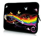 Luxburg® Design Laptoptasche Notebooktasche Tablet PC eBook Reader Tasche bis 8,1 Zoll, Motiv: Schmetterlinge und Regenbogen
