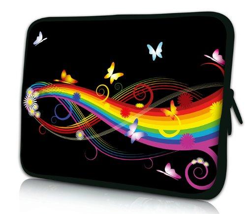 Luxburg® Design Laptoptasche Notebooktasche Sleeve für 15,6 Zoll (auch in 10,2 Zoll | 12,1 Zoll | 13,3 Zoll | 14,2 Zoll | 15,6 Zoll | 17,3 Zoll) , Motiv: Schmetterlinge und Regenbogen