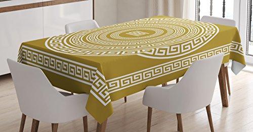 Ambesonne Mantel con llave griega, diseño vintage con patrón de escurridor de Grecia Retro Twist Lines, para comedor, cocina, mesa rectangular, color blanco y dorado