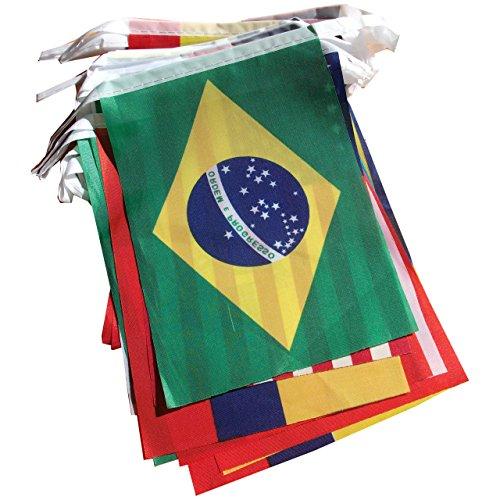 Sodial(r) coppa del mondo di brasile tessuto pavese - tutte le 32 bandiere 9 metri (dimensioni bandiera: 14cm x 21 cm)