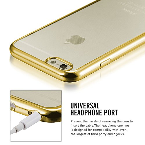 tinxi® Coque Apple iPhone 6 6s(4,7 Pouces) Coque de protection en silicone TPU pour iPhone 6 6s case cover housse étui coque Ultra mince Transparent avec motif Plumes Blanches (0,7mm) Transparent/Or cadre