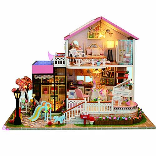 Gespräch Outdoor-möbel (Puppenhaus Miniatur DIY Haus Kit, 3D montieren Hausmodell, kreative Zimmer mit Möbeln für romantische (Süßes Gespräch))