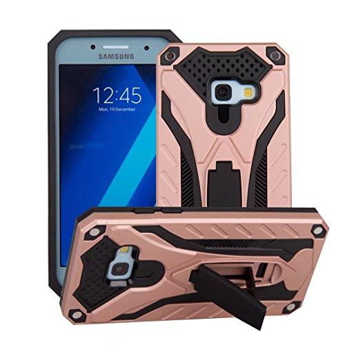 EKINHUI Case Cover Neue Hybrid-Rüstung schützende rückseitige Abdeckung Shockproof Doppelschicht PC + TPU rückseitige Abdeckung mit Kickstand für Samsung-Galaxie A3 2017 ( Color : Gold ) Rosegold