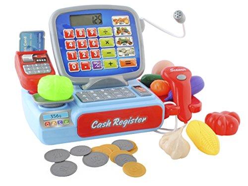 ISO TRADE Caja registradora de Juguete para niños - Caja registradora + escáner + Dinero Falso #4476