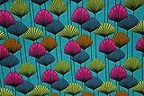 Jersey Blumen grafisch petrol | 1,50 Meter breit | wird in