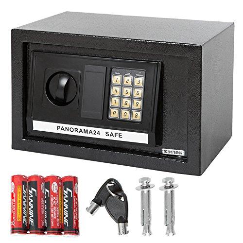 31 Schwarz Led (Panorama24 Tresor Safe mit Elektronik-Zahlenschloss 31x20x20cm LED-Anzeige Stahlbolzen, schwarz, inkl. 4 Batterien, Möbeltresor Wandtresor Wandsafe Home)