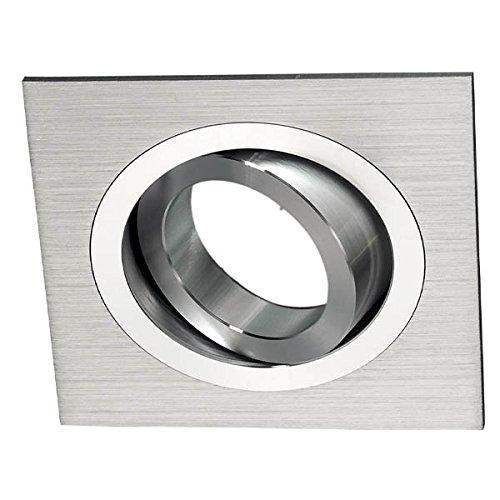Wonderlamp Foco empotrable Cuadrado, Aluminio, Incluye portalámparas GU10, ángulo basculación 30º, Gris,...
