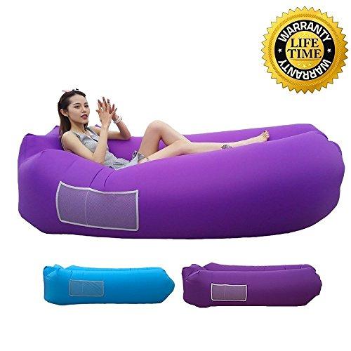 Acoocki Hochwertige Premium Wasserdichtes Aufblasbares Luftsofa, Air Lounger mit Tragebeutel, zum Schlafen im Freien, im Innenbereich, zum Zurücklehnen und Entspannen, Aufblasbarer Sitzsack (Violett)