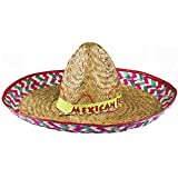 MENS MEXICAN RED SOMBRERO WITH MEXICAN FEISTA BAND + BLACK MOUSTACHE FANCY DRESS ACCESSORY HAT TASH STRAW HOLIDAY STAG NIGHT CLUBBING BANDIT