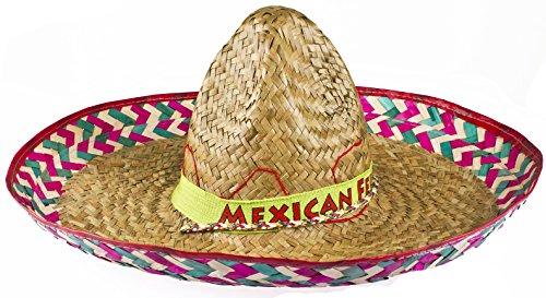 x Mexikanische Stroh Sombrero Große Hüte ideal Fancy Kleid ()