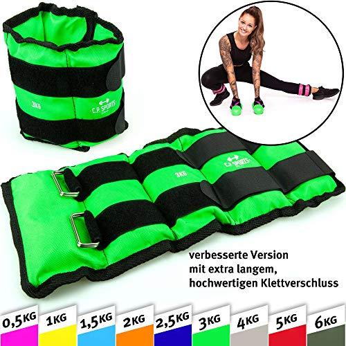 C.P.Sports Gewichtsmanschetten Paar für Hand- und Fußgelenke, 2X 0,5kg – 2X 1kg - 2X 1,5kg - 2X 2kg - 2X 2,5kg - 2X 3kg-2x 4kg-2x 5kg-2x 6kg - Gewichte für Arme und Beine Gewichtsmanschette (6,0kg)