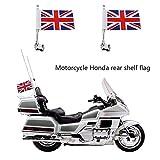 Ahomi-Motorrad-Gepäckträger mit Fahnenstange + UK-Flagge für Honda Goldwing GL 1800.