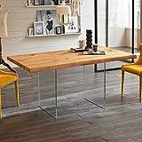 Pharao24 Tisch mit Glaswangen Eicheplatte Breite 160 cm Tiefe 90 cm