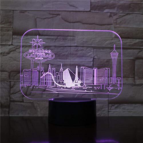 Zcmzcm 3D Nachtlichter Usb 3D Led Nachtlicht Stadt Las Vegas Atmosphäre Lampe Dekoration Rgb Kinder Baby Geschenk Berühmte Gebäude Tischlampe