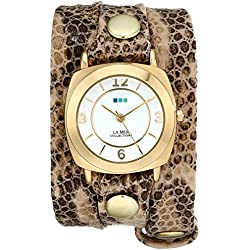 La Mer Collections Damen LMODY3005 Odyssey Wrap Collection Cr̬me Brown Snake Armbanduhr