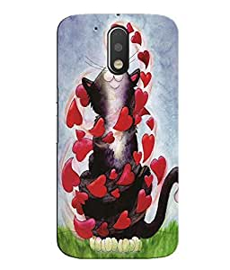 Citydreamz Cat and Red Hearts Hard Polycarbonate Designer Back Case Cover For Motorola Moto G4 (4th Gen.)