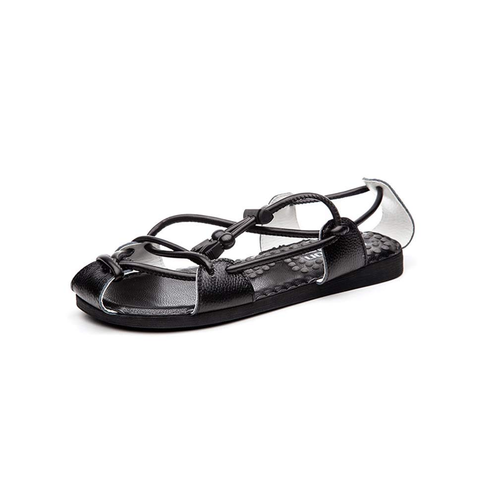 Hy Herren Ankle Strap Sandalen, Männer Comfy Orthopädische Naturleder Sandalen Schuhe,White,38