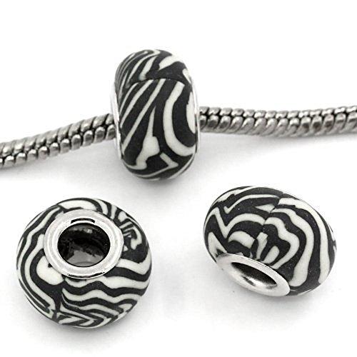 Zebra Armband (Sexy Damen Zebra funkelt und Streifen Charm Bead Core für Schlange Kette Armband)