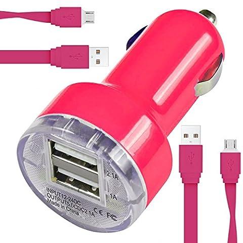 Blu Dash L2 Car Charger Chargeur de voiture Compact Rapid Bullet DUAL Petit Fast Travel DC 12V / 24V En Chargeur de voiture Adaptateur USB avec 2 x 1 Mètre Flat Data Sync Charging Cable