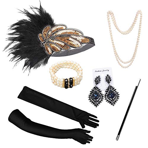JYZ 1920s Accessoires Set Damen Flapper Kostüm Gatsby Zubehör Set Inklusive Feder Stirnband Perlenkette Handschuhe Zigarettenhalter Für Mottopartys