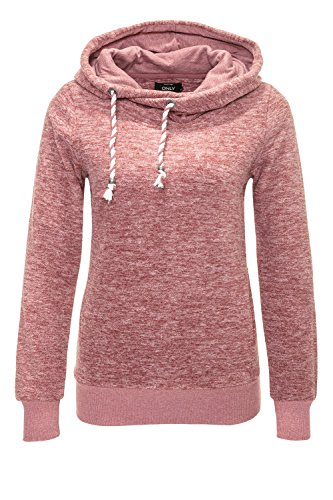 Only Damen Fleece Pullover Hoodie Kapuzenpullover Sweatjacke Withered Rose