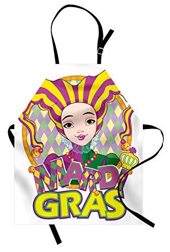 ABAKUHAUS Mardi Gras Kochschürze, Karneval Mädchen in Harlekin Kostüm und Hut Cartoon Fat Dienstag Theme, Farbfest Höhenverstellbar Waschbar Klarer Digitaldruck, Lila Gelb Grün (Männliche Harlekin Kostüm)