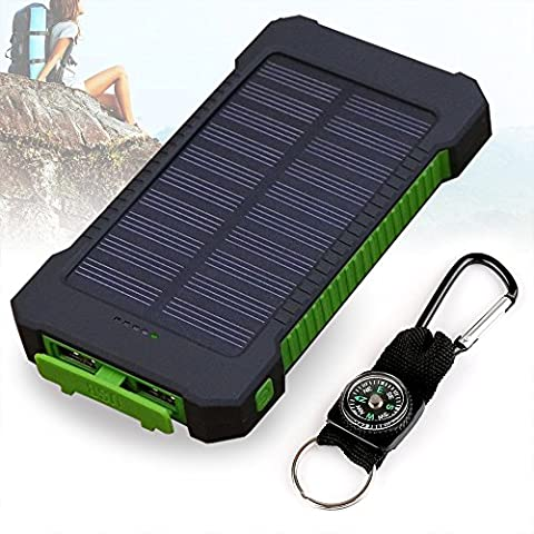 Solar Charger, 10000mAh Solar Power Bank , Dual USB Port Waterproof Dust-Proof and Shock-Resistant Portable Phone Charger with Led Light for Camping Hiking and Other Outdoor Activities (Green)