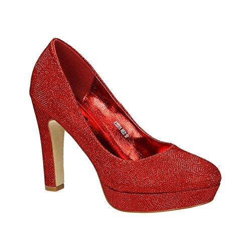 Klassische Damen Glitzer Pumps Stilettos High Heels Plateau Abend Schuhe Bequem 315 (36, Rot) (Rote Glitzer High Heels)