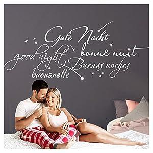 Grandora Wandtattoo Gute Nacht International I weiß (BxH) 130 x 55 cm I Schlafzimmer Kinderzimmer selbstklebend Aufkleber Wandaufkleber Sticker W761