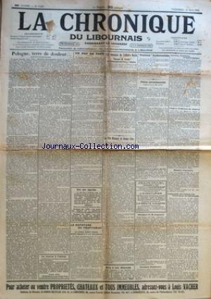 CHRONIQUE DU LIBOURNAIS (LA) [No 7259] du 19/05/1933 - POLOGNE - TERRE DE DOULEUR - LES DESOUS DE L'AFFAIRE HULIN - M. GRANDE - POLICE CORRECTIONNELLE - LES TRAMWAY ELECTRIQUES DU LIBOURNAUS - LES OBSEQUES DE M. GUGNEROT - LA DICTATURE DU PROFITARIAT