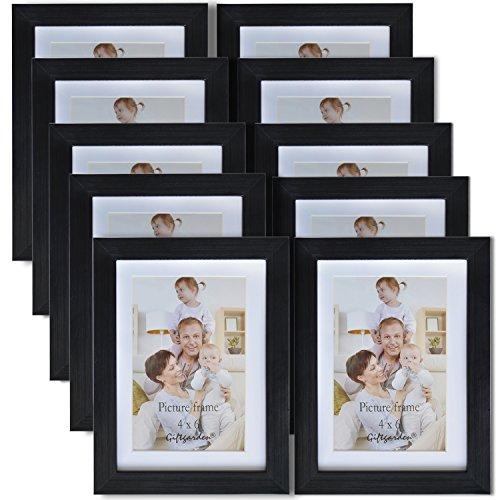 Giftgarden Bilderrahmen 13x18 Collagen Schwarz Set Holz Ohne Passepartout, 10x15 Mit Passepartout, Fotorahmen mehrere Bilder 10er