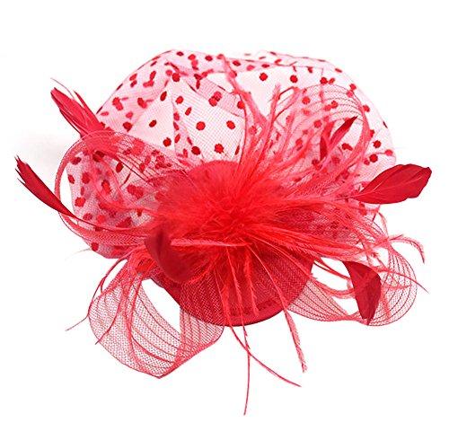 EXCHIC Damen Fascinators Hut Vintage Polka Punkt Mesh Federn Haarclip Cocktail Tea Party Headwear (Rot) -