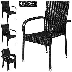Deuba 4X Chaises de Jardin polyrotin Confortable empilable accoudoirs Robuste Noir Set de 4 chaises Fauteuil de Jardin polyrotin Chaise de Jardin empilable
