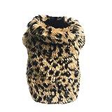 Fenverk_Haustier Hunde Leopard Drucken HüNdchen Weich Warm Dicker Baumwolle Kleider KostüMe Hund Weihnachten Passen Winter KostüM Polar Vlies Passt FüR Teddy Jumper(braun,L)