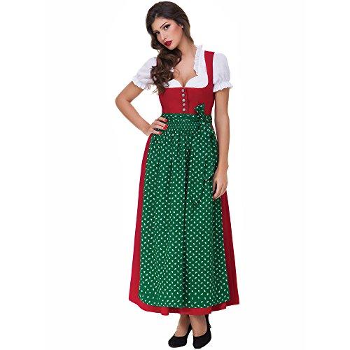 festliche kleider in gruen Almbock Dirndl Lang Lea rot mit grüner Schürze in Gr. 36 38 40 42 44 46 - festliches Trachten-Kleid, Rock-Länge 95cm
