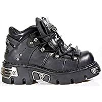 New Rock Newrock 110 Gothic/Punk Black Leather Spikes/Stud Goth Biker Boots