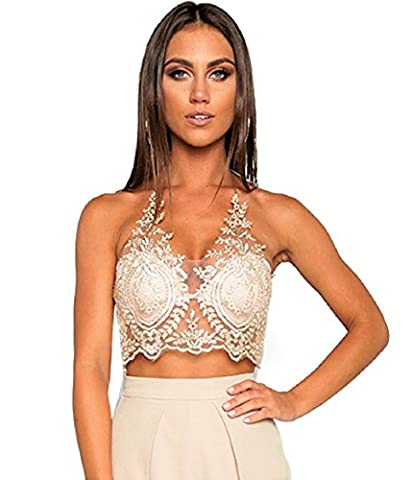 JeVenis Women's Halter Neck Tank Gold Crop Top Sleeveless Lace Vest Embroidered Bustier Top (XS,