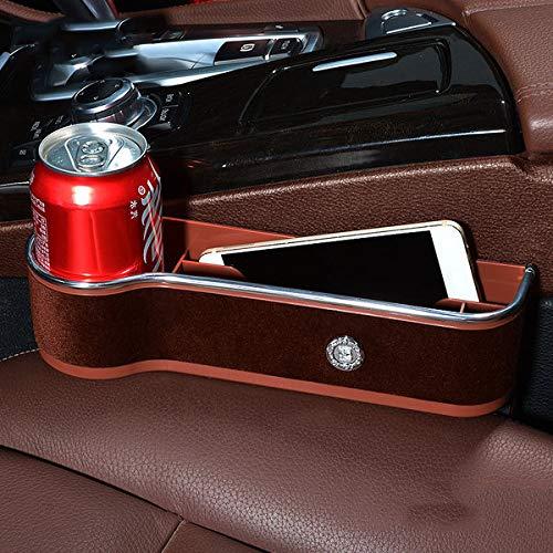 MJ-Car Storage Box Autositzfüller Lücke Raum Aufbewahrungsbox Tasse Flasche Handyhalter Münzkollektor Konsole Seitentasche Leder + Samt (Mokka Braun) - Mokka-konsole