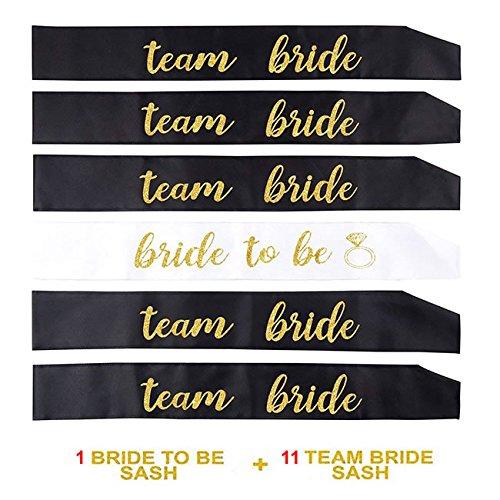 Schärpe (Losuya 11 Schwarze Team Braut Schärpen mit 1 weißen Braut Sash Set für Hochzeit, Junggesellinnenabschied und Bridal Shower Party Dekorationen Gunst)