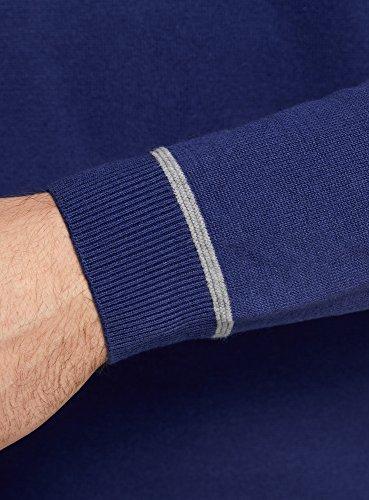 oodji Ultra Homme Pull Basique avec Fermeture Décorative Bleu (7523B)