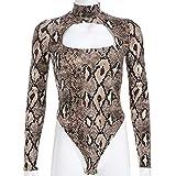 ZYUEER Damen Hosen Winter Mode sexy hochgeschlossene Hohle schlanke Schlange Jumpsuit Tops Polyester (L, Khaki)