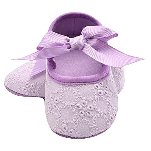 Highdas Weiche Sohle Mädchen Babyschuhe Baumwolle Erste Wanderer Schmetterling Knoten Erste Sole Kinderschuhe Lila