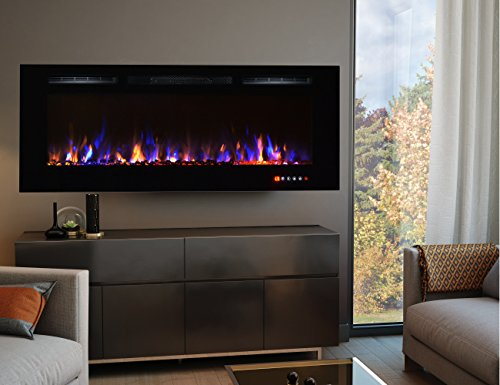 White Wall Mounted Fire: TruFlame 2018 NEW PREMIUM PRODUCT 50inch Black Wall