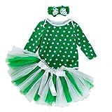 Xmiral 3 Piezas Bebes Niñas Mameluco Lunares con Falda Tutu Regalo para Carnaval Disfraz Bautismo con Diadema Fiesta (Verde,6-12 Meses)